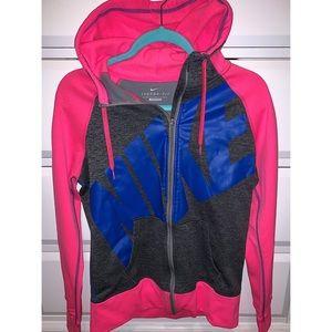 NIKE woman's M pink/blue/gray zip hoodie